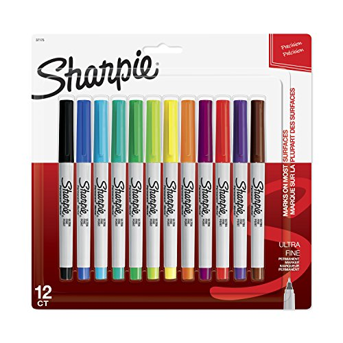 (Sharpie 37175PP Permanent Markers, Ultra-Fine Point, Assorted Colors, 12)