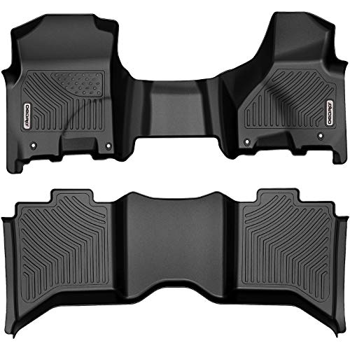 oEdRo Floor Mats Compatible with 2012-2018 Dodge Ram 1500/2500/3500 Crew Cab, 2019 Ram 1500 Classic Crew Cab, 2 Row Liner Set (Over-Hump Front & 2nd Seat), Black TPE All-Weather Guard - Custom Fit