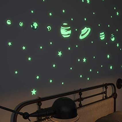 Glow In The Dark Stars Stickers And Planets Supernova: 8 Planets And 40  Ceiling Stars