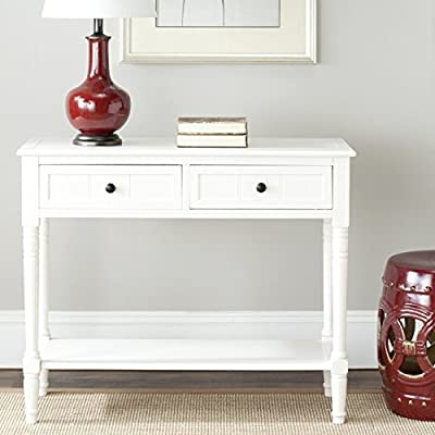 Safavieh American Homes Collection Samantha Distressed Cream 2-Drawer Console Table - The distressed cream finish of this console table is sure to update any decor This console table features two drawers measuring 15.2 inches wide by 11 inches deep 4.7 inches high Crafted of solid pine wood - living-room-furniture, living-room, console-tables - 51imdiLbHxL. SS400  -