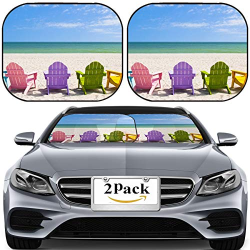 MSD Car Sun Shade for Windshield Universal Fit 2 Pack Sunshade, Block Sun Glare, UV and Heat, Protect Car Interior, Adirondack Beach Chairs on a Sun Beach in Front of a Holiday Vacation Travel