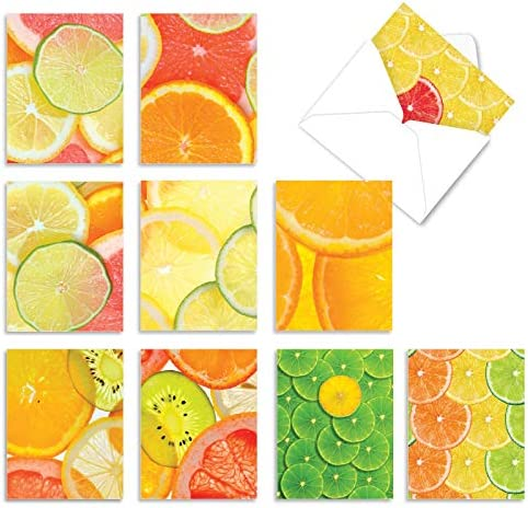 Citrus Cards Blank Notes Flat Cards Colorful Watercolor Stationary Citrus Stationery Tropical Cards Citrus Notecards Set of 12