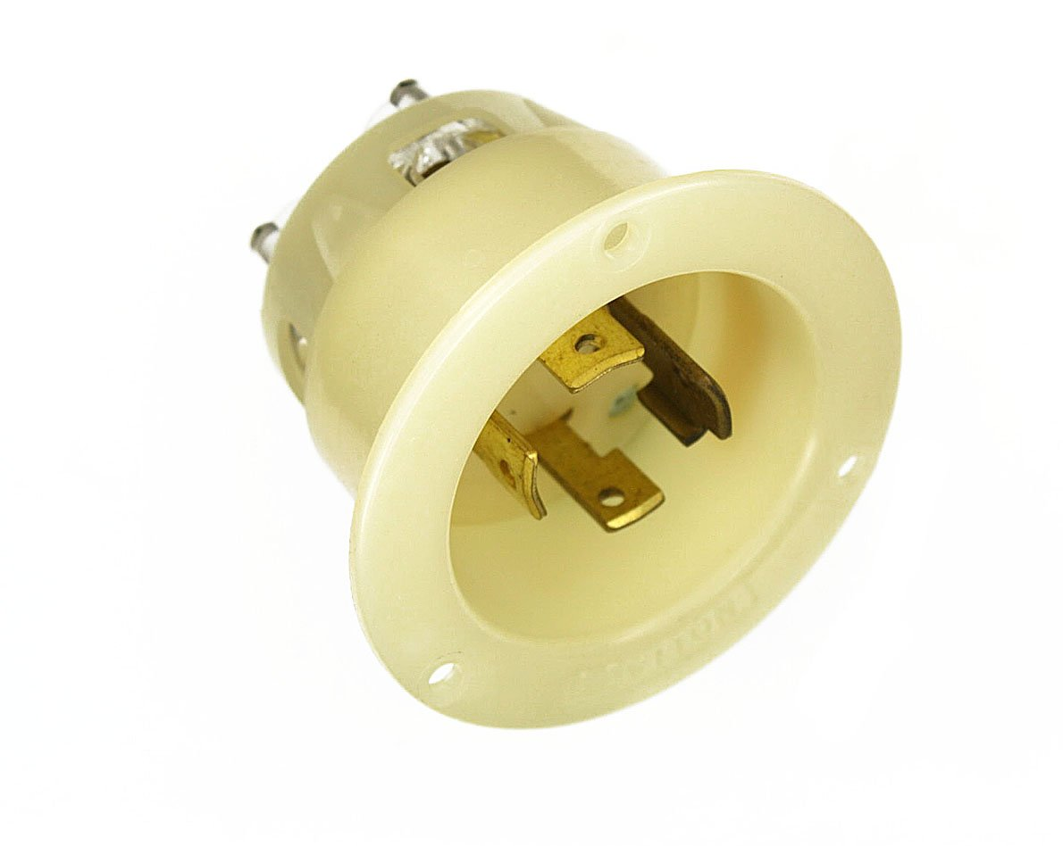 Flanged Inlet Locking Receptacle White Industrial Grade 347//600 Volt- 3PY Leviton 2775 30 Amp Non-Grounding