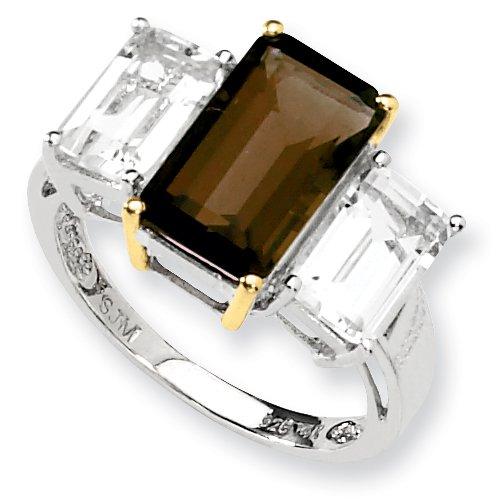 14k Gold Smokey Quartz (Sterling Silver & 14k Gold Smokey Quartz and White Topaz Ring - Size 6)