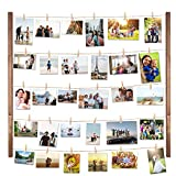 picture frame collage ideas DIY Wood Picture Frames Collage for Hanging Wall Decor, VENCIPA Multi Photo Display Pictures Organizer with 30 Clips, 28'' X 22'' inch Vertical or Horizontal Display