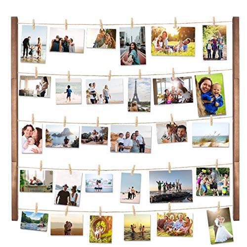 DIY Wood Picture Frames Collage for Hanging Wall Decor, VENCIPA Multi Photo Display Pictures Organizer with 30 Clips, 28'' X 22'' inch Vertical or Horizontal Display]()