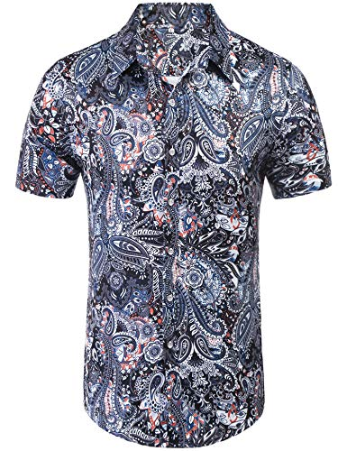 Daupanzees Mens Paisley Fashion Short Sleeve Street Wear Slim Fit Silk Urban Polyester Disco Luxury Print Button Up Shirts (Navy Blue M)