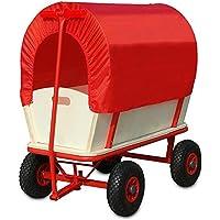Deuba Bollerwagen | bis 180 kg belastbar | mit Plane | 4 luftgefederte Allroundprofil Reifen | Stahlrohrrahmen | Transportwagen