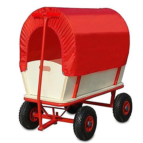 Deuba Bollerwagen mit Plane - 4 luftgefederte Profilräder - 180 kg belastbar Transportwagen Handwagen Wagen Transport Schutzd