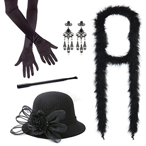Back To School Theme Party Costume (1920s Accessories Roaring 20's Flapper Costume for Women Headband Long Gloves Pearl Necklace Cigarette Holder (M11))