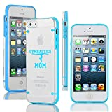Apple iPhone 5 5s Ultra Thin Transparent Clear Hard TPU Case Cover Gymnastics Mom (Light Blue)
