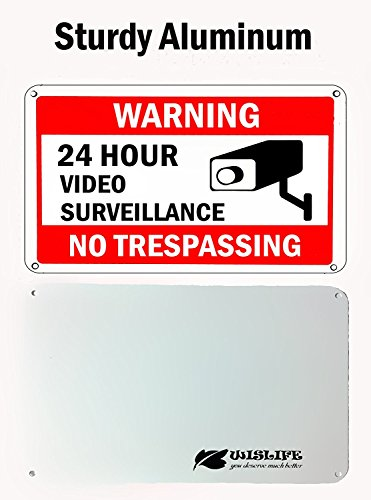 WISLIFE Video Surveillance Sign Set, 2 (10'' X 7'') Aluminum Warning Signs & 6 (6''X6'') Window Stickers, Video Security Signs by WISLIFE (Image #2)