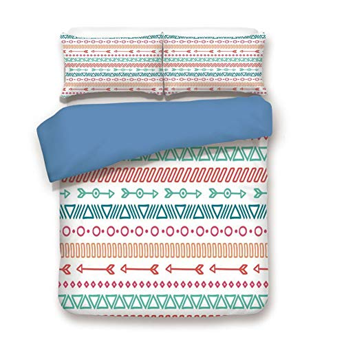 Duvet Cover Set Full Size, Decorative 3 Piece Bedding Set with 2 Pillow Shams,Aztec Maya Ethnic Pattern and Triangle Geometric Shapes Native Heritage Graphic Art