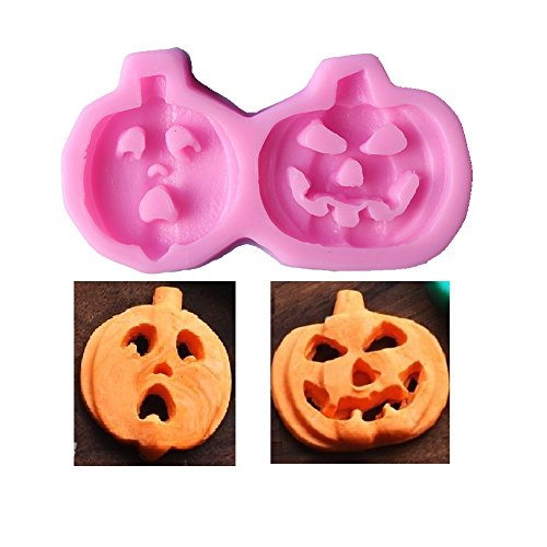 Allforhome (TM) 2 Cavities Halloween Pumpkin Silicone Fondant mold Handmade Dessert Candy Chocolate Making Molds DIY Cake Decorating Mold]()