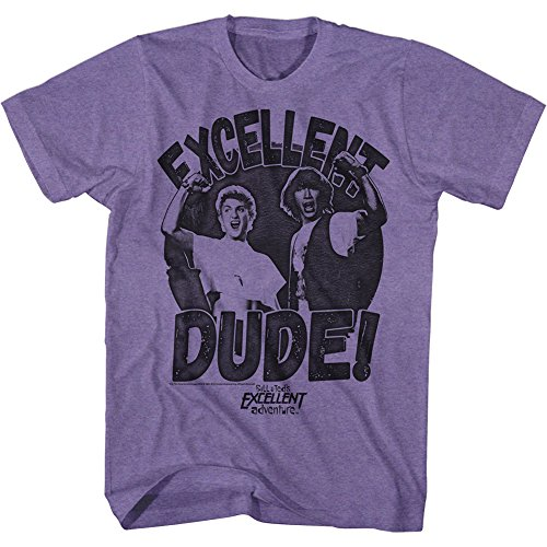 Bill And Ted - Mens Excellent Dude T-Shirt, Size: Medium, Color: Retro Purple Heather