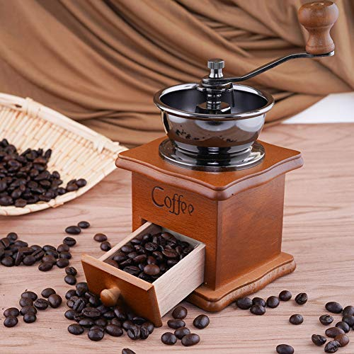 (Manual Spice Grinder Wooden Coffee Grinder Vintage Manual Coffee Grinder Retro Adjustable Conical Ceramic Burr Mill Mini for Precision Brewing by SOPRETY)