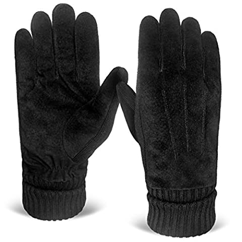 LETHMIK Mens Black Winter Gloves Suede Leather Knit Cuff with Warm Thick Fleece Lining Black - Fur Leather Gloves