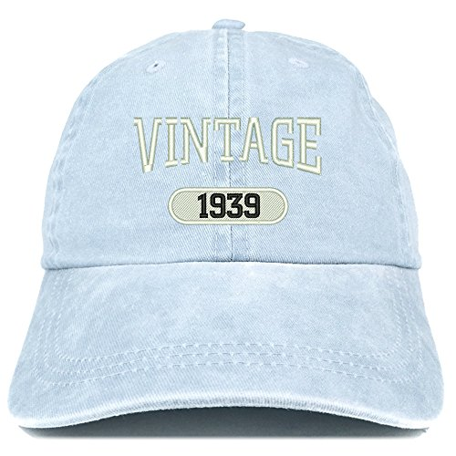 (Trendy Apparel Shop Vintage 1939 Embroidered 80th Birthday Soft Crown Washed Cotton Cap - Light Blue)