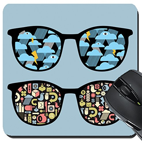 MSD Suqare Mousepad 8x8 Inch Mouse Pads/Mat design: 12820656 Retro eyeglasses with symbols reflection in - For Reflection Symbol