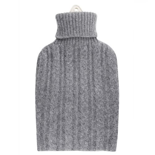 Pure Cashmere Cable Knit Hot Water Bottle (Light Grey)