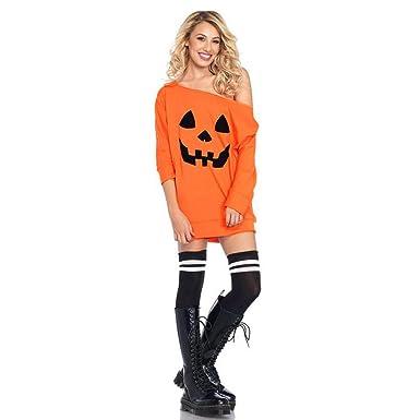 Frauen Halloween Sweatshirt Damen Kürbis Print Langarm