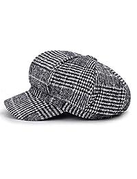 Blmusi Newsboy Beret Hat for Women Cabbie Hats Fall Visor Cap Paperboy Painter Hat. Deep Gray
