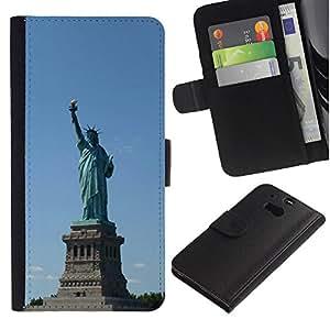 KingStore / Leather Etui en cuir / HTC One M8 / Arquitectura Estatua de la Libertad