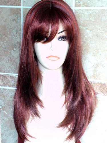 Forever Young Perfect Long Wine Red and Auburn Mix Number 33AS350 Ladies Face Framing Page Style Wig Fanlan 33AS350#
