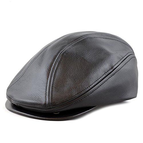 THE HAT DEPOT Genuine Made in USA Leather Gatsby Ivy Ascot Hat (L/XL, Black)