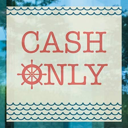 16x16 5-Pack CGSignLab Nautical Wave Window Cling Cash Only