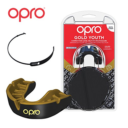 OPRO Gold Level Mouthguard | Gum Shield + Strap for Ball, Combat and Stick Sports (Adult/Kids Sizes) - 18 Month Dental Warranty (Black/Gold, Kids)