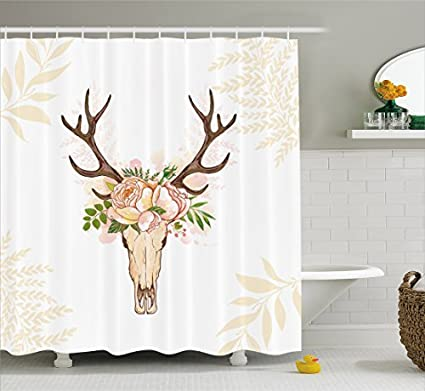 Ambesonne Antler Decor Shower Curtain By Horns Soft Flowers Bouquet Spring Nature Theme Rustic Home