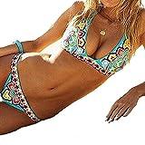 Fashionzone 2pcs Women Bohemian Style Padded Swimsuit Bikini Set Top Bottom Cloth For Summer Beach