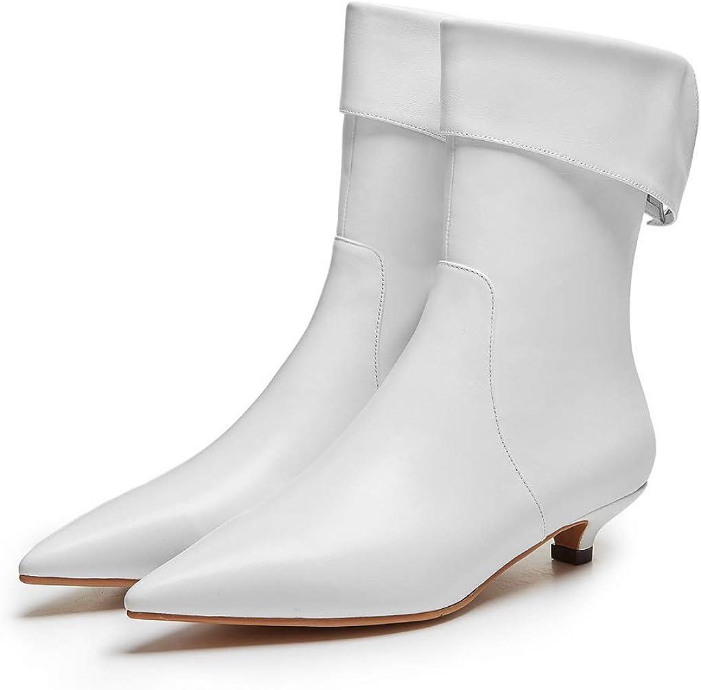 ANNIESHOE Stiefeletten Damen Leder Kurzschaft Elegant Ankle Boots Absatz Heels Herbst Weiß