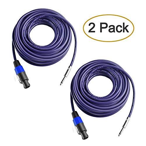 Yoico 2Pcs 50 Feet Professional Speakon to 1/4 Speaker Cable, Pair 50 ft 12 Gauge Speakon to 1/4 Male Inch Audio Amplifier Connection Heavy Duty Cord Wire with Twist Lock