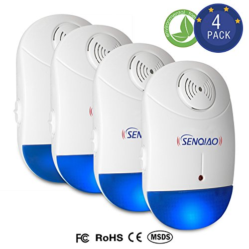 Pest Control Ultrasonic Repeller [4 Pack] for Mosquitoes, Insects, Spiders, Mices, Roaches, Bugs, Flies and More for Home Indoor - Non-Toxic Eco-Friendly, Human & Pet Safe