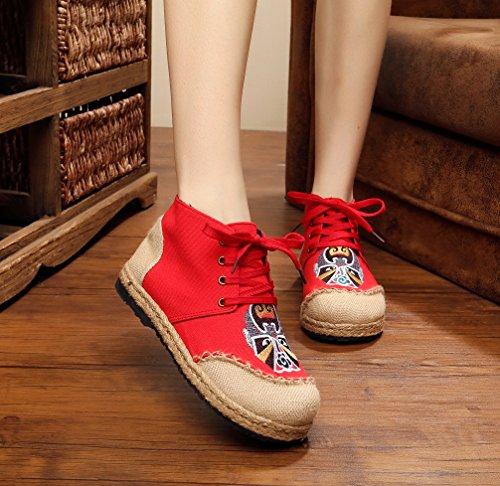 Zapatillas De Vestir Para Mujer Ausom Mujeres National Embroidery Linen High Top Con Cordones Rojos