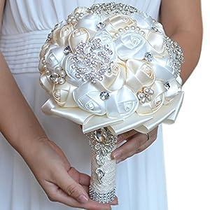 FAYBOX Handmade Rhinestone Brooch Stunning Tassel Wedding Bridal Bouquets White and Ivory 47