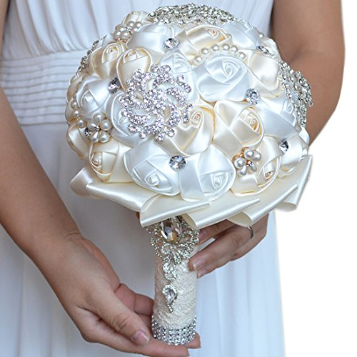 FAYBOX Handmade Rhinestone Brooch Stunning Tassel Wedding Bridal Bouquets White and Ivory (Silk Rose Bridal Bouquet)