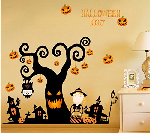 IXIMO Happy Holloween Wall Stickers Halloween Trees Pumpkin Castle Mura Decor Removeable Room Decal (Create A Banshee Costume For Halloween)