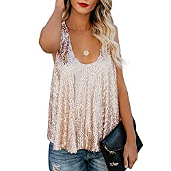 Women Sexy Sequins Camisole Blouse