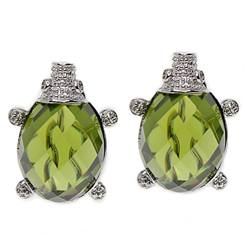 MIU Jewellery Sea Turtle 925 Sterling Silver Omega Clips Earrings with Created Green Quartz ()