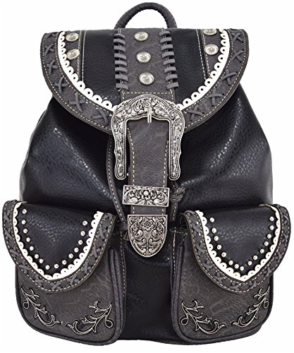 Western Style Cowgirl Country Backpack Punk Buckle School Bag Travel Biker Purse (Black)