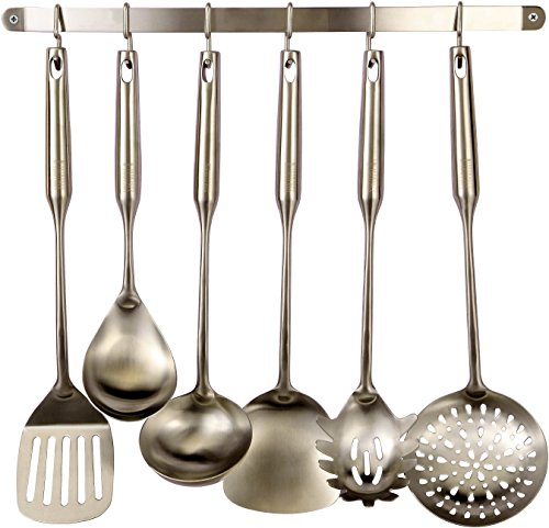 Pro Chef Kitchen Tools Stainless Steel Utensil Hanging Rack - 6 Hooks To Hold and Organize Kitchen Tools, Utensils, Pots, Pans On Wall Mounted Hanger Bar Rail