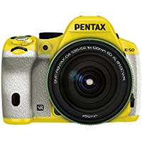 Pentax K-50 16MP Digital SLR 18-135mm Lens Kit Yellow/ White 029 [Camera]