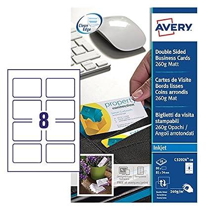 Avery Zweckform C32024 10 Premium Visitenkarten Mit Abgerundeten Kanten 80 Stück 85 X 54 Mm Beidseitig Bedruckbar Matt 10 Blatt