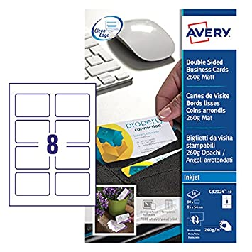 Avery c32024 10 printable double sided business cards 8 cards per avery c32024 10 printable double sided business cards 8 cards per a4 sheet colourmoves Images
