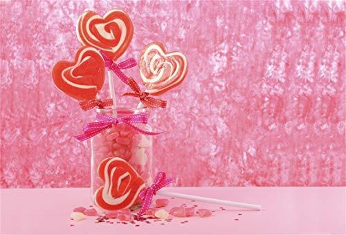 Leyiyi 10x6.5ft Photography Background Heart Shape Lollipop Sweet Love Ribbon Sugar Jar Girly Cake Table Princess Valentine's Day Backdrop Wedding Ceremony Marriage Photo Portrait Vinyl Studio Prop