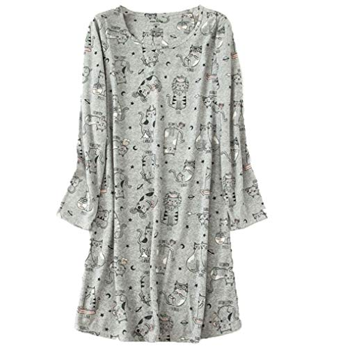 Cat Sleepshirt - Amoy madrola Women's Nightgown Cotton Sleep Tee Nightshirt Casual Print Sleepwear XTSY109-Long Gray Cats-S