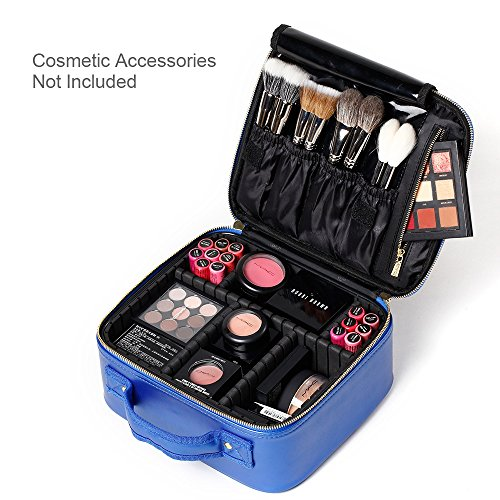[Gifts for women] ROWNYEON PU Leather Makeup Case Mini Makeup Bag Portable Travel Makeup Bag EVA Makeup Train Case Best Gift For Girl (Blue Small) by ROWNYEON